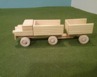 Wood Pick Up Truck with Trailer - Open End