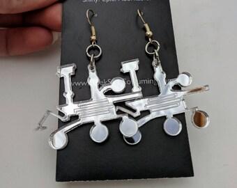 Mars Rover Curiosity Space Science Earrings, Mirror Silver Lasercut Acrylic