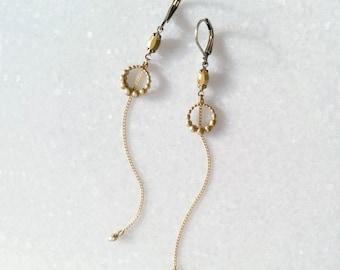 Golden Earrings - Long Earrings with Chains - Gold Brass Earrings - Comet Or Swarovski - Nova (SD1213)