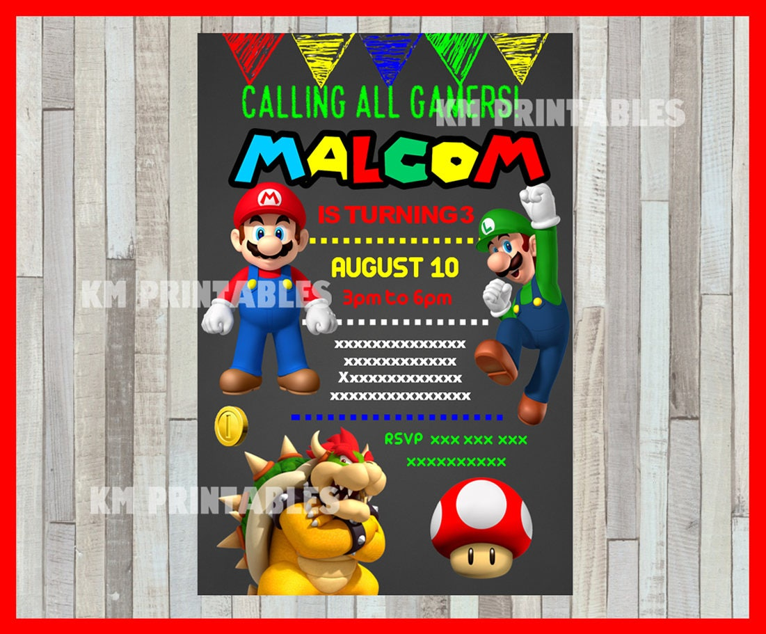 Mario bros chalkboard party invitation mario bros invitation zoom monicamarmolfo Gallery