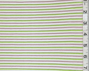 Pink/Green Stripe Burnout, Fabric By The Yard