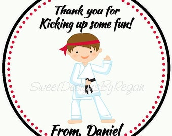 Karate Birthday Favor Tag - Karate Party Favors - Karate Birthday Party Tags - Karate Thank you Tags  ( Set of 12)