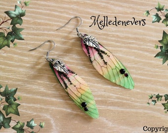 boucles d'oreilles acier chirurgical ailes fée grenats feuilles