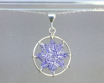 Compass Rose doily necklace, lilac hand-dyed silk thread, sterling silver