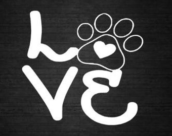 Love Paw Print Window Decal Personalized