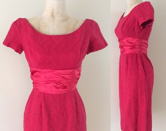 "1960's Cherry Red Textured Wiggle Dress Vintage Mad Men Dress Satin Sash Size XS 24"" Waist by Maeberry Vintage"