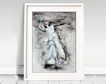 Ballerina watercolor art print. Wall art, wall decor, digital print. That's live. Ballerina dancing with sword.