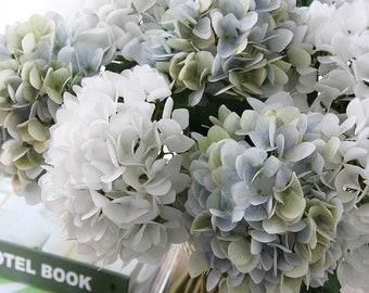 Silk Dusky Blue Hydrangeas   7 Head Bouquet