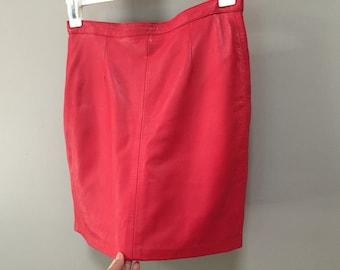 Red Leather Skirt, Vintage Leather Mini Skirt Soft Italian Leather 80s Skirt Straight Skirt Short Skirt Sexy Red Skirt red hot Leather 1980s