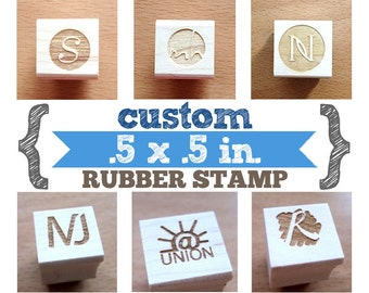 Small .5 x .5 in - YOUR CUSTOM DESIGN - Art Wood Mounted Rubber Stamp - Perfect for Logo, Branding, Packaging, Party, Wedding Favors