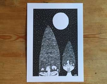 A5 original mountain print