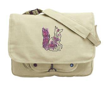 Floral Fox Embroidered Canvas Messenger Bag