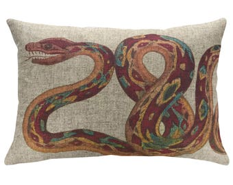 Snake Throw Pillow, Linen Lumbar Pillow