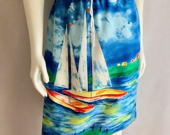 Vintage Women's 80's Sailboat Skirt, Knee Length by Breeze (M)
