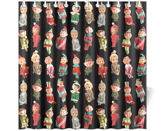 Vintage Christmas Elves Shower Curtain - high res photos on novelty shower curtain - black, white, red or green background