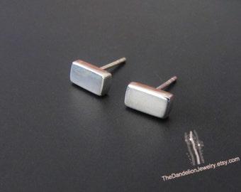 Small Bar Stud Earrings, Sterling Silver Earrings, Studs, Jewelry, Gift, Minimalist Earrings