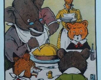 Fun Animal Print -School Dinner - The Dr Elephant Headmaster carves the Pie - Anthropomorphic Art-Kids Nursery Wall Art-Antique Reprint