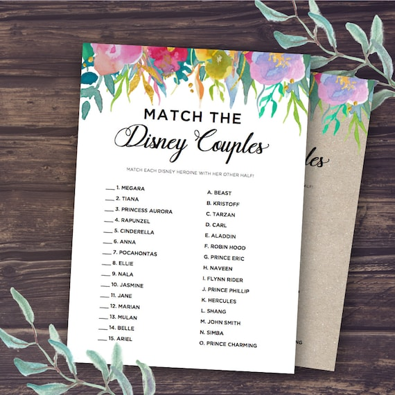 Bridal Shower Game Ideas: Match The Disney Couple Disney