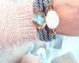 Grey and cream wrapover bracelet