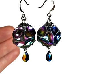 Vintage Black Bead Dangle Earrings, Bauble Earrings, Handmade Artisan Jewelry, Gift for Her