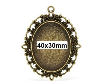5 pcs. Antique Bronze Oval Pendant Picture Photo Frame Bezel Setting Pendants Charms - Fits 40mm x 30mm Cabochons / Cameos - 40x30mm - 30x40