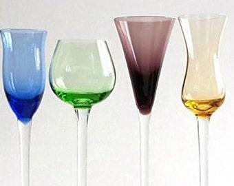Cordial Aperitif Liquor Stemware Four Set Slovakia Blue Green Purple Amber Retro Glassware Midcentury Barware Vintage 1950s 1960s Stemware