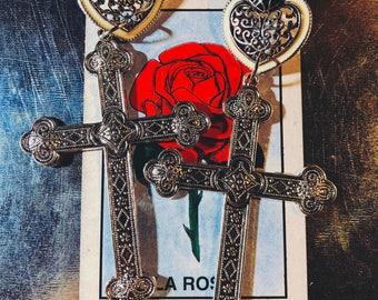 Vintage Heart & Cross Earrings