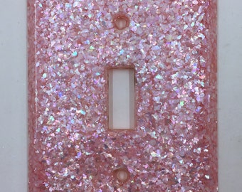 Lucite Mother of Pearl Pink Light Switch Plate