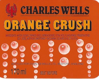Vintage Charles Wells Orange Crush Soda Label, 1930s