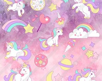 Clip art by Unicorn, Clipart, digital imaging/Images unicorn predesigned, Graphic unicorns, Fantasy Clipart