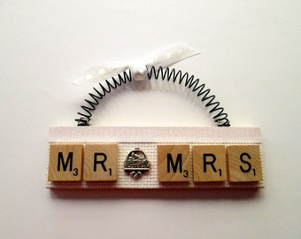 Mr. and Mrs. Just Married Scrabble Tile Ornament