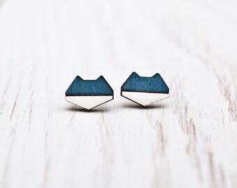 Cat Blue Geometric Earrings, Tribal post earrings, stud earrings, Geometric Ear Posts, Wooden Cat Earrings, Girlfriend Gift, Tiny Earring