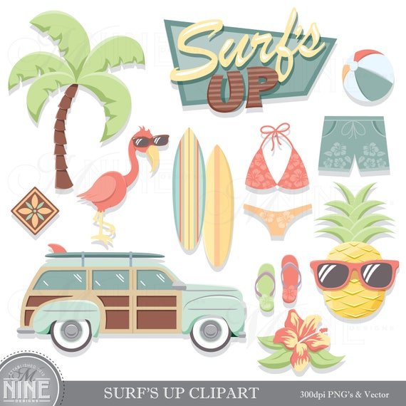 Vintage Beach Clip Art SURFING THEME Clipart Downloads Summer Party Vector Palm Tree Pineapple From