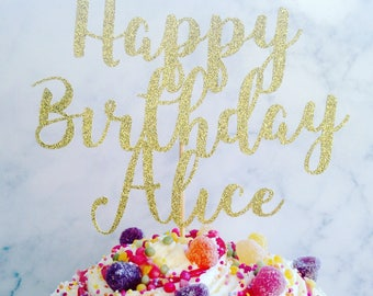 Personalised Cake Topper, Happy birthday glitter cake topper, name cake topper, birthday decor, party decor, cake decoration, cuatom topper