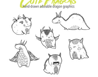 Cute Hand Drawn Dragon Clip Art, Dragon digital download, Doodly Doodle Illustrated Monster Clipart, Digital Download Dragon Clip art set