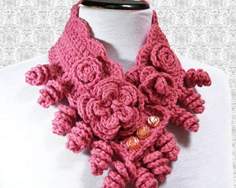 Crochet Cowl Pattern, Crochet Neck Warmer, Pattern Cowl with Flowers Tutorial N70