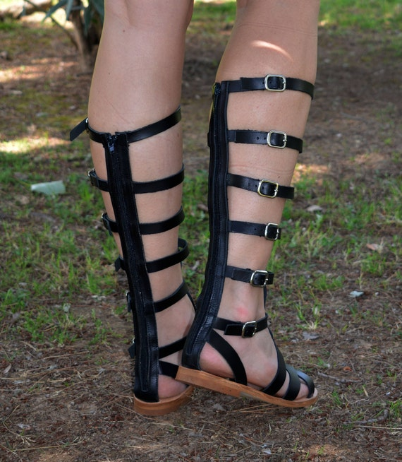 Knee Greek Black high Sandals Gladiator Sandals ''Elektra'' sandals Gladiator Sandals Ancient Tall Leather Sandals Gladiator Gladiator 8r4wO8q