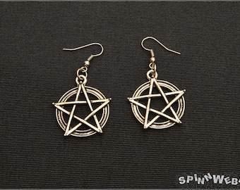 Pentacle Earrings - pendant, silver tone, filigree, metal, handmade