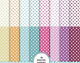 Fun dots digital scrapbook paper, polka dots digital paper, digital scrapbook paper kit, dots background, printable dots paper, 12X12 inches