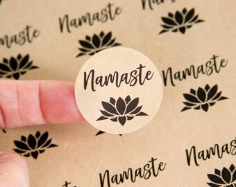 Namaste Stickers - Namaste Labels - Lotus Flower - Yoga Packaging - Small Business Packaging - Jewelry Packaging - 1.25 inches - 48 pieces