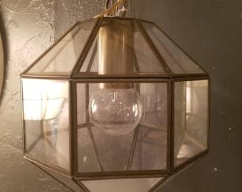 Geometric Glass Lantern   Hanging Light