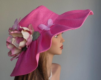 Hot Pink Church Wedding Hat Head Piece Kentucky Derby Hat Hot Pink Bridal Coctail Hat Couture Fascinator  Bridal Hat