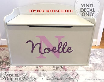 Personalized Toy Box Decal, Monogram Decal for Toy Chest, Toy Storage Removable Vinyl Decal, Shown: Noelle (0179c52v)