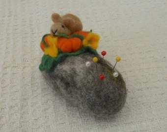 Rabbit on a pebble, Pebble pincushion, mothers day, pumpkin pincushion, felted pincushion, Needle Felted gift, needles and pins, Easter Gift