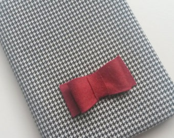 Houndstooth Covered A6 Notebook with Red Bow Detail