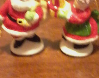 Vintage Schmid Santa and Mrs Claus ornaments