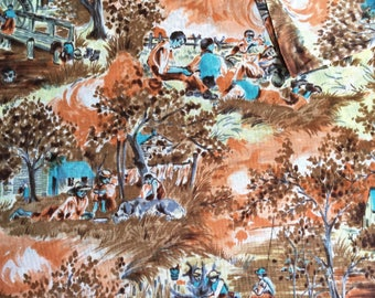 Vintage Fabric 70's Polyester, Farm Print, Material, Textiles