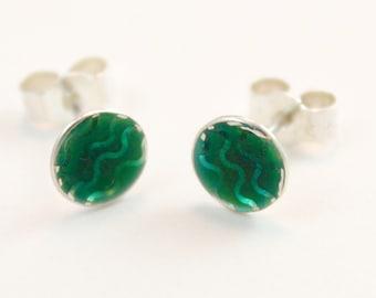 Green wavy patterned enamel silver stud earrings
