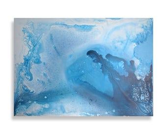 Blue Ocean 27x19'' Original Acrylic Painting On Canvas