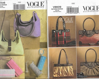 Vogue 8609 & 8009 Uncut Purse Bag Clutch Handbag Sewing Pattern Lot of 2